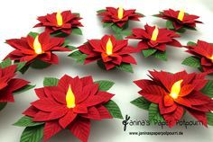 Poinsettia tea light - including instructions at the end of the article - Janina& Paper Potpourri - Ho ho hopefully you are still in a Christmas mood ! I still have a small, sweet decorative object - Diy Christmas Gifts, Christmas Projects, Holiday Crafts, Christmas Ornaments, Halloween Crafts, Diy Cadeau Noel, Lampe Decoration, Potpourri, Navidad Diy