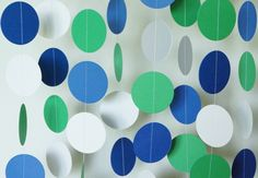 Blue, Green and White Paper Garland, Baby Shower Decoration, Baby Boy 1st Birthday Party Decoration, Royal Blue & Green Birthday 10 ft. long by FabulouslyHomemade on Etsy https://www.etsy.com/listing/237569711/blue-green-and-white-paper-garland-baby