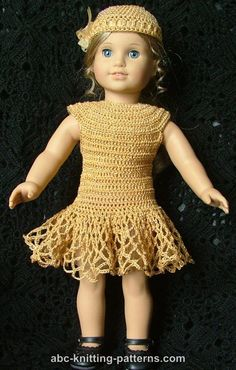 ABC Knitting Patterns - American Girl Doll Cocktail Dress with Beads