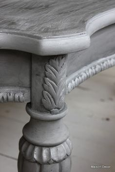 Paris Grey base with Graphite wash and some silver gilding wax. Gorgeous finish from Maison Decor.