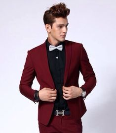 Red and black suit