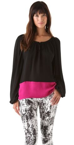 Click Image Above To Purchase: Parker Colorblock Peasant Top