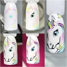 Trendy Nails Art Unicorn Step By Step Ideas Nail Art For Kids, New Nail Art, Cool Nail Art, Unicorn Nails Designs, Unicorn Nail Art, Diy Nails, Cute Nails, Animal Nail Art, Trendy Nail Art