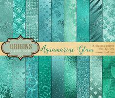 Aqua Glam Digital Paper Aquamarine Blue by OriginsDigitalCurio