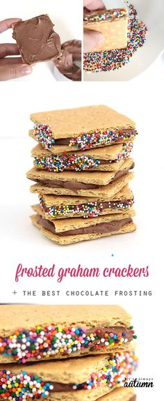 chocolate frosted graham crackers are so easy and quick to make, and they're delicious! click through for an amazing homemade chocolate frosting recipe.