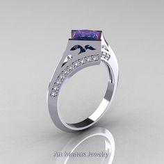 Modern French 14K White Gold 1.0 CT Princess Chrysoberyl Alexandrite Diamond Engagement, Wedding Ring R176-14WGDAL