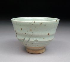 Handmade Small Yunomi Tea cup glazed with Satin Celadon with Natural Iron Specks made by Shyrabbit / D Michael Coffee.