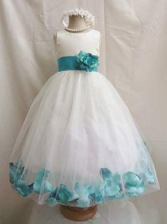 Robes de fille de fleur - Ivoire avec Teal Rose robe de pétale (FD0PT) - mariage demoiselle d'honneur de Pâques - pour les filles de l'adolescence de tout-petit bébé enfants