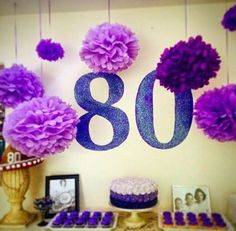 ideas birthday table decorations for women purple Purple Party Decorations, Birthday Party Decorations For Adults, Birthday Presents For Mom, 90th Birthday Parties, Birthday Party Tables, Birthday Crafts, 80 Birthday, Birthday Ideas, Happy Birthday