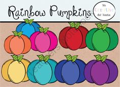 FREE Rainbow Pumpkins - Digital Art from TheCreativeArtTeacher on TeachersNotebook.com -  (1 page)  - This freebie set will brighten up any resource or lesson. They could easily be mixed and matched with my Washi tapes or Rainbow products found on TPT! You will receive 10 rainbow pumpkins.