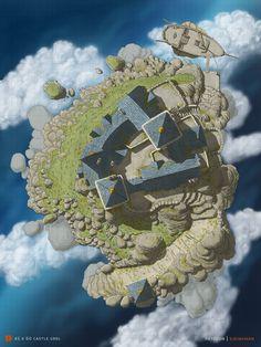 Castle Grel, the floating castle | John Stevenson on Patreon Fantasy City, Fantasy Island, Fantasy Castle, Fantasy Places, Fantasy Map, Fantasy World, Storm Kings Thunder, Dnd World Map, Isometric Map