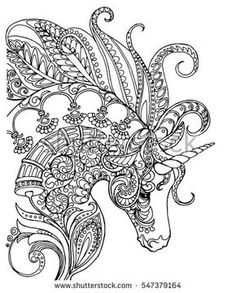 Elegant zentangle patterned unicorn, doodle page for adult colouring book, vector design