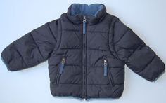 Mini Boden Jacket 18 24 M Navy Blue Converts to Vest Puffer Fleece Lining Coat #MiniBoden #JacketVest
