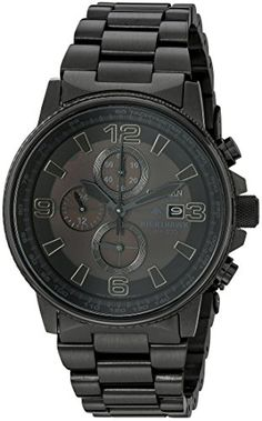 Black on black for a sleek masculine look. Citizen Men's CA0295-58E Eco-Drive Nighthawk Stainless Steel Watch. Black ion-plated watch featuring black-and-charcoal dial with date window, tachymeter outer dial, and three chronograph function subdials. Eco-Drive technology is fueled by light and never needs a battery. 43 mm stainless steel case with mineral dial window. Japanese quartz movement with analog display. Stainless steel bracelet featuring fold-over clasp with double push-button and…