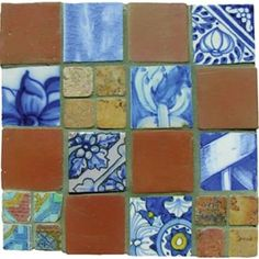 Mosaic Madness Blue White Terra Cotta Montage 8 x 8 Hand Painted Ceramic Tile Painting Ceramic Tiles, Mosaic Tiles, Mosaic Madness, Hand Painted Ceramics, Terracotta, Blue And White, Quilts, Blanket, Interior