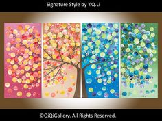 "Original Modern Abstract Heavy Texture Impasto  Painting Landscape Tree Wall Decor ""365 Days of Happiness"" By qiqigallery. $365.00, via Etsy."