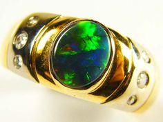 BLACK OPAL 18K GOLD STYLED WITH DIAMONDS sco 746 a opal jewellery australian opal