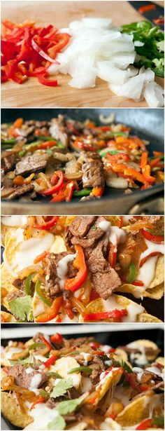 Cheesesteak Nachos ~ A mash-up of a classic Philly cheesesteak sub and really good nachos. This is the perfect game-day food.