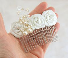 Bridal Hair Comb Fascinator in Ivory with Handmade Satin Flowers and Pearls- Vintage Obsession