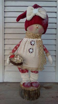 Primitive Christmas Snow Girl Sara - Prim Snow Doll - Handmade Snow Girl - Primitive Christmas Snow People - Primitive Snow Girl