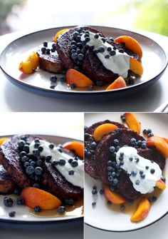 blueberry + almond butter french toast with peaches - VEGAN