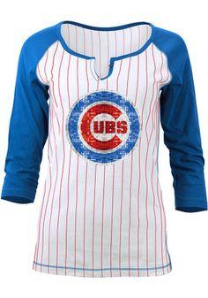 Chicago Cubs Womens White Opening Night Women's V-Neck