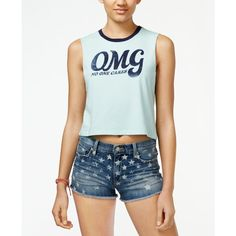 Hybrid Juniors' Omg Graphic Crop Tank ($9.99) ❤ liked on Polyvore featuring tops, cropped tank top, graphic crop tank, graphic crop tops, blue top and graphic tanks