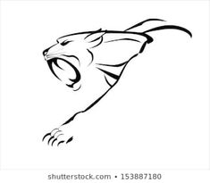Find Fang Face Muscular Panther Roaring Crawling stock images in HD and millions of other royalty-free stock photos, illustrations and vectors in the Shutterstock collection. Horse Drawings, Cool Art Drawings, Beautiful Drawings, Shadow Painting, Air Brush Painting, Black Cat Tattoos, Animal Tattoos, Line Tattoos, Star Tattoos