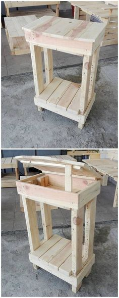 Next image is about the quite unique pallet creation where the brilliant use of the wood pallet table has been strongly added all over with the storage purposeful effect in it. This pallet creation of table can nevertheless stand out to be perfect.