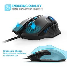 febc9aaf5c5 TeckNet Gaming Mouse, Wired Computer Gaming Mouse with Programmable  Buttons, 7000DPI, Breathing Backlit