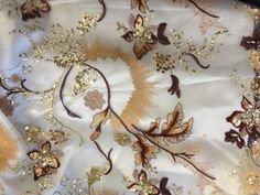 French Lace Gold Embroidered Leaves with by ShadesofGloryFabrics, $28.99