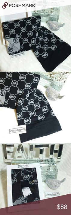 Michael Kors box set scarf and beanie 🌟🌟Trusted Seller🌟🌟Suggested User🌟🌟 💯Authentic  Brand new with tags Chic Michael Kors hat and scarf set! Is MK set would make a wonderful gift for yourself or someone you care for. Black and gray  💖Shop with confidence💖💖 🎉🎊Suggested User🎊🎉 📮💌Same day shipping📮💌 5🌟🌟🌟🌟🌟 star rated closet 👍👍Top seller👍👍 Hat/ beanie Michael Kors Accessories Scarves & Wraps