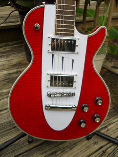 "1960 Red Corvette Les Paul Guitar ""Inlay Neck"" Gibson Deluxe Tuners Hardcase"
