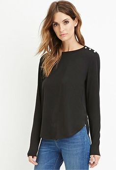 Contemporary Buttoned Combo Top | Forever 21 - 2000163466