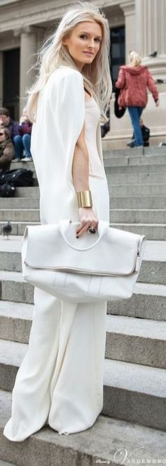 all white. street style.