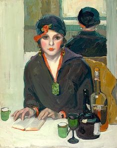 Reading at a Cafe (c. 1920) by Jane Peterson (1876-1975), American (paintedprism)