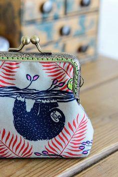 Coin purse made with super cute sloth by CrimsonRabbitBurrow
