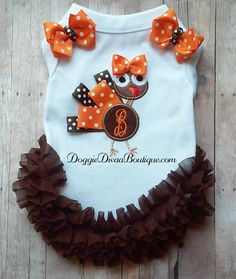 with or without bows or ruffles Small Embroidery Dog Shirt Dog T Shirt Purple Initial and name embroidered Medium