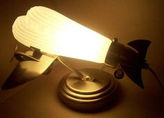 CHROME & FROSTED GLASS AIRPLANE TABLE DESK LAMP LIGHT~ NICE ART DECO LOOK