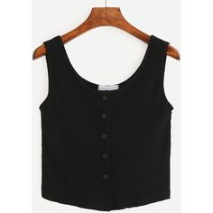 Buttoned Front Ribbed Knit Crop Tank Top - Black (€7,23) ❤ liked on Polyvore featuring tops, black, round neck crop top, button front vest, vest crop top, stretch top and stretchy crop top