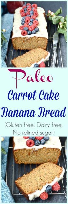 Paleo Carrot Cake Banana Bread (Grain free, dairy free, gluten free, no refined sugar)