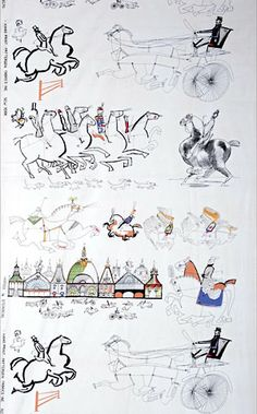 Horses, Screen-Printed Cotton by Saul Steinberg American 1949