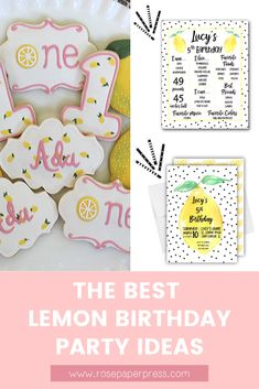 The best ideas for hosting a Lemon Birthday Party for kids. Lemonade Birthday Party ideas including invitations, cookies, outfits, and decorations. Kids Birthday Themes, Birthday Banners, Birthday Invitations Kids, 2nd Birthday Parties, Boy Birthday, Birthday Cookies, 1st Birthdays, Holiday Cards, Balloons