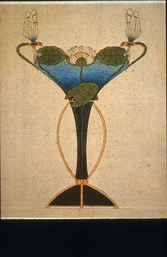 Gustav Gaudernack design (5) for decorative Dragonfly vase in gilt silver and plique-a-jour enamel and translucent enamel over guilloché pattern (base). 1904.