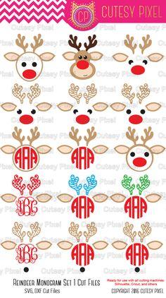 Reindeer Designs Svg, cutting file, antlers, reindeer, christmas SVG, DXF, Cricut Design Space, Silhouette Studio,Digital Cut Files by CutesyPixel on Etsy