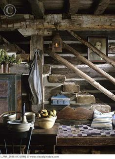 Rustic stairs in restored log home