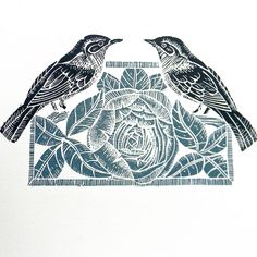 Nightingales and Peony Lino Print by Mangle Prints, via Flickr