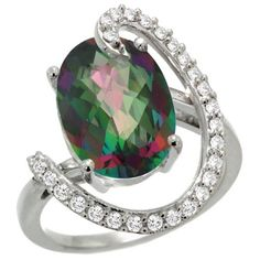 14k White Gold Mystic Topaz Engagement Ring - This stunningly elegant Mystic Topaz Engagement Ring is crafted from Solid 14 Karat Gold & set with Genuine Diamonds & a Precious Gem. The Quality is outstanding & yet the price is very reasonable. It's one of the most colorful gems you'll ever find! #unusualengagementrings