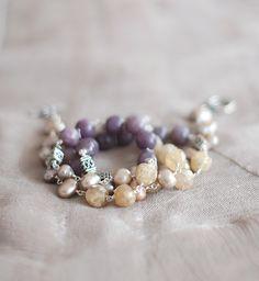 Soft Yellow & Purple Necklace