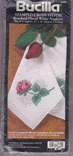 4 Bucilla Rosebud Floral White Napkins Stamped Cross Stitch Sealed Kit Edged #Bucilla #Setof4Napkins